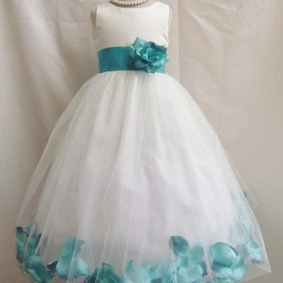 3ce214b95 ... 2015 Flower Girl Dresses with Teal Rose Petal Dress Wedding Easter  Bridesmaid - For Baby Children ...