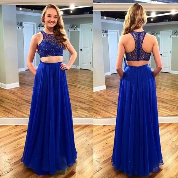 Royal Blue Two Piece Prom Dresses 2016 New Scoop Beading Long Chiffon Seep Train Prom Gowns