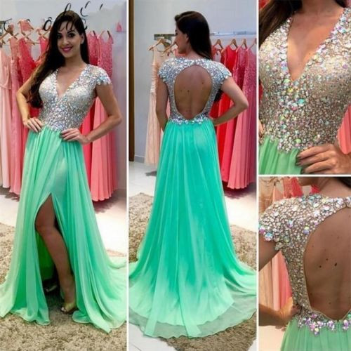 Luxury A Line Prom Dresses 2016 New V Neck Beading Crystal Backless Cap Sleeve Long Chiffon Seep Train Prom Gowns