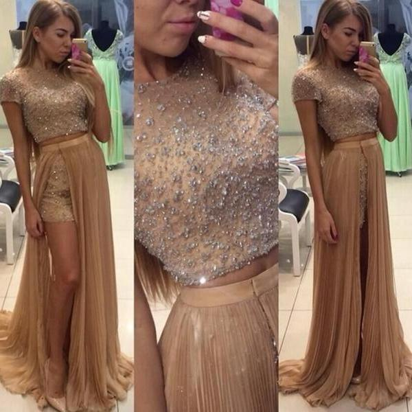 Beautiful Two Pieces Prom Dresses 2016 O Neck Backless Beads Sequin Side Slit Party Evening Formal Dresses