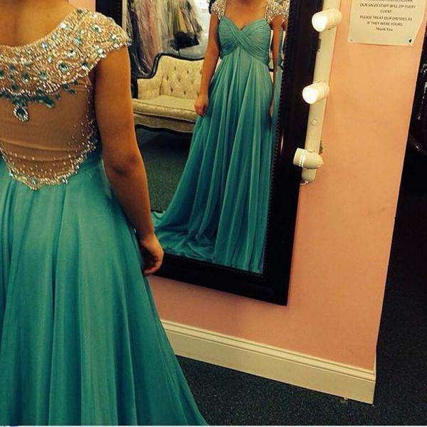 Cap Sleeve 2016 New Arrival Sweetheart Prom Dresses Beads Crystal Sheer Back vestidos de fiesta Eveing Gown