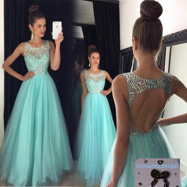 Gorgeous A Line Crystal Prom Dresses 2016 Scoop Backless Evening Gown Long Tulle Prom Dress