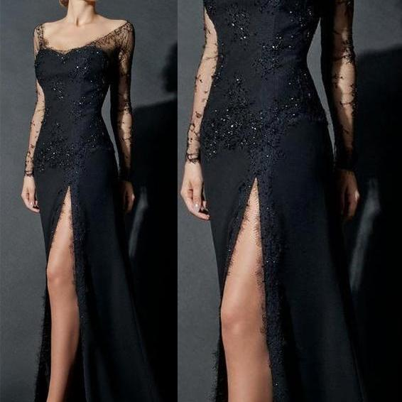 Appliques Prom Dresses, Discount Prom Dresses, Long Prom Dresses, Sweetheart Prom Dresses, Dresses For PromSheath Evening Dress, Long Sleeve Evening Dress,Elegant Evening Dress,Sexy Evening Dress