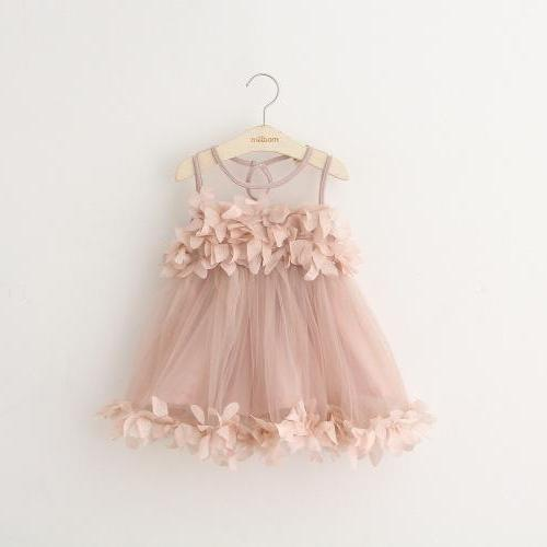 2016 summer models girls tide models high-end three-dimensional petals sleeveless dress children princess dress flower girl dress