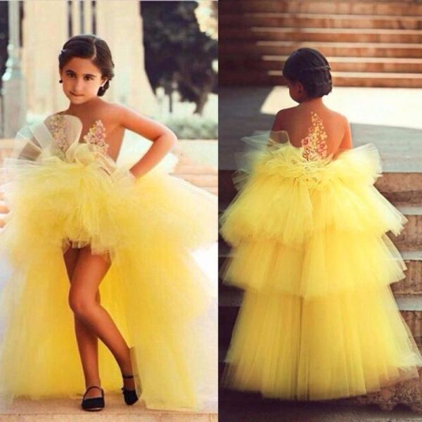 Fashion Bright Yellow Tiered Pleat Flower Girl dresses Ball Gown Off The Shoulder Organza Appliques Flower Girl Dresses Gowns
