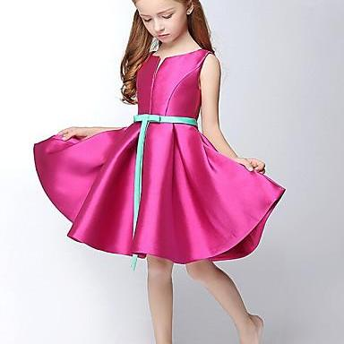 Flower girl dress New Arrival Girl Dresses A-line Short / Mini Flower Girl Dress - Satin Sleeveless V-neck with