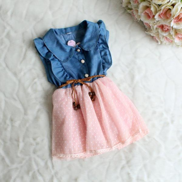 Fashion denim dress Girls summer new little veil 2016 new dress female children of princess dress children Girls F-0006