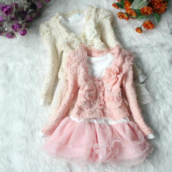 2016 New Models Girls Suit Children Long-sleeved Lace Skirt two Sets Dress Lovely Princess TuTu Veil -Free Shipping F0025