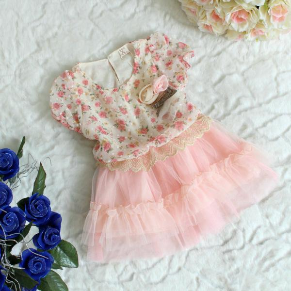 2016 Summer New Children's Wear Short-sleeved Dress Chiffon Flowers Lovely Princess TuTu Veil F-0026