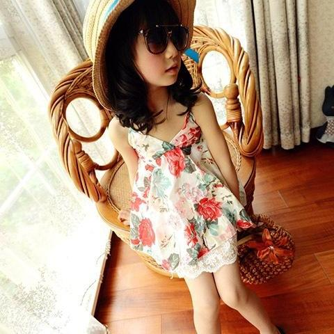 Girls Summer Dress 2016 New Ink Lace Camisole Dress F-0030