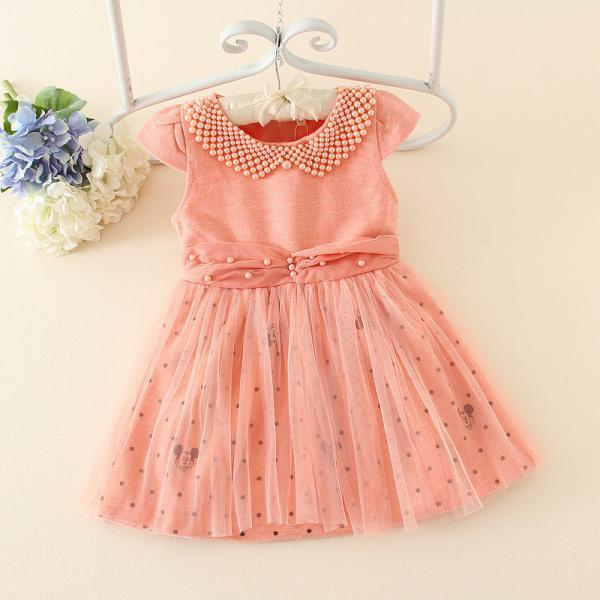Spring New Children's Clothing Princess Dress Veil Children Dress Girls Short-sleeved Dress Beading F-0054