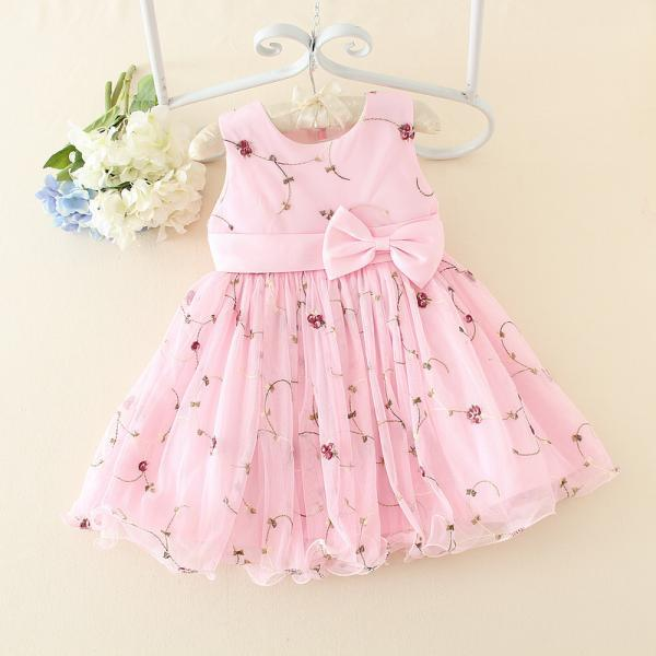 High-end Children's Wedding Dress Sweet Princess Ln Pink Dress Children Skirt New Summer Children Dress F-0058