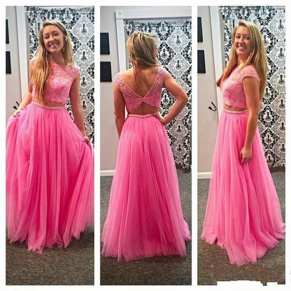 2016 Elegant Pink Two Pieces Beaded Crystals Prom Dresses Sexy Scoop Neckline Short Sleeve Appliques Tulle Evening Gowns